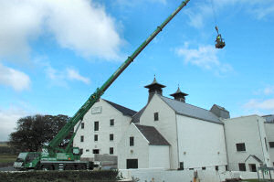 Picture of a large crane at a distillery