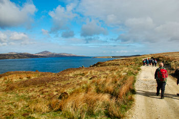 Picture of a group of walkers walking along a sound (Sound of Islay)