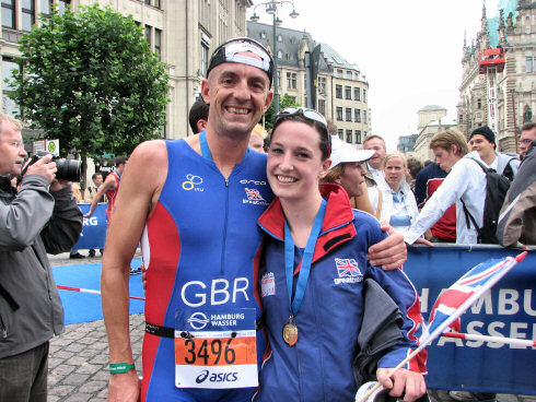 Picture of a man (Billy Holman) and a young woman (Mhairi Muir) after a triathlon