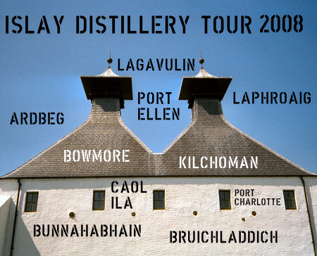 Picture of a kiln pagoda with the Islay distillery names grouped around it