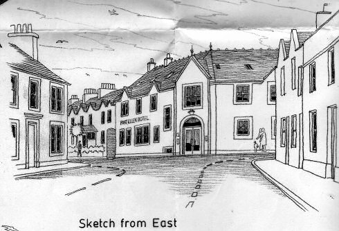 Scan of the sketch of a hotel in an architects drawing