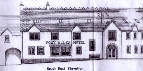 Scan of the sketch of a hotel, showing part of the front of the building