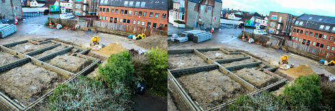 Two views of the foundations on a building site