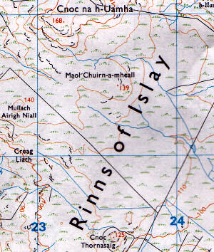 Scan of a map with the correct spelling Rinns of Islay