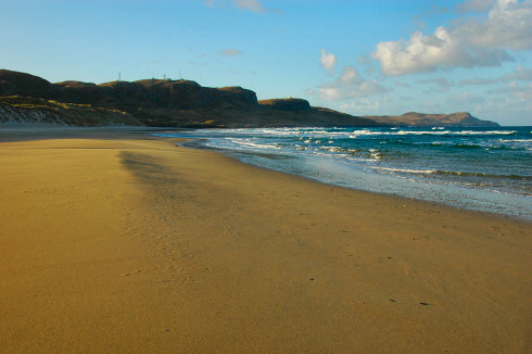 Picture of a sandy golden beach in the morning sun