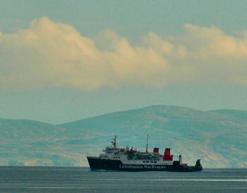 Picture of a Calmac ferry in the evening light