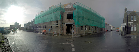 Picture of a panoramic view over a hotel building under construction