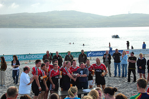 Picture of the winning team (Black Bottle) at the Islay Beach Rugby tournament 2009