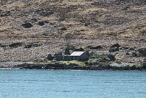 Picture of a cottage next to the shore