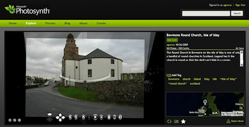 Screenshot of the Photosynth site with a Round Church showing