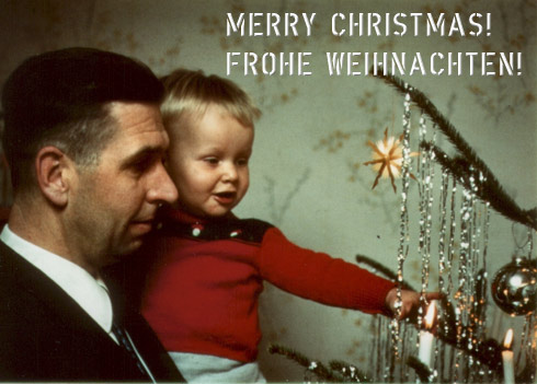 Picture of a young boy on the arms of his father, admiring a Christmas tree
