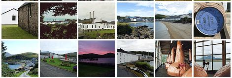 Screenshot of thumbnails of pictures of Islay distilleries