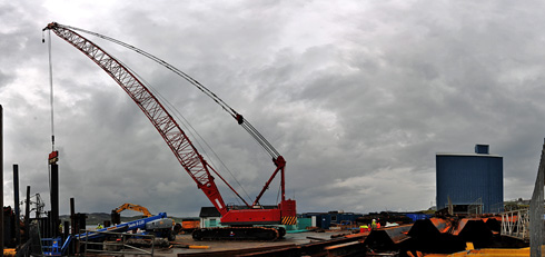 Panoramic picture of a building site