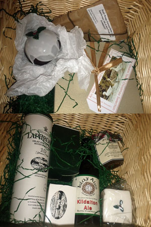 Composite picture of two pictures, showing the inside of the Laphroaig Christmas hamper