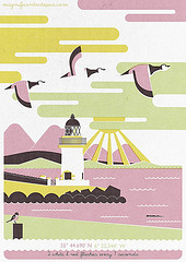 Drawing of a lighthouse and geese