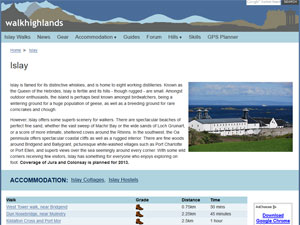 Small screenshot of the walkhighlands page for Islay