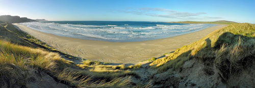 Panoramic picture of a view from dunes over a beach