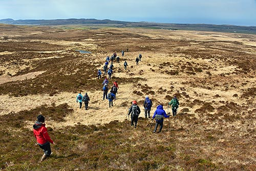 Picture of the group of walkers descending a hill